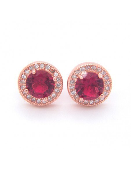 Big stud earrings of silver and pink crystal rose gold FERALI