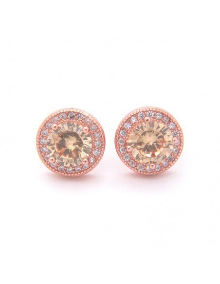 Silver stud earrings with crystals rose gold FERAS