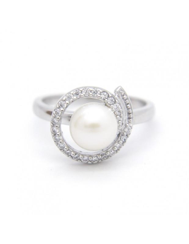 Δαχτυλίδι ασημένιο με γνήσιο μαργαριτάρι γλυκού νερού WIL R20140779