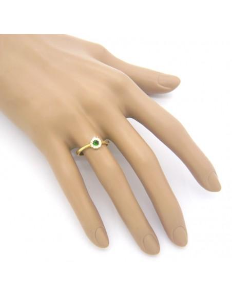Δαχτυλίδι ασημένιο με πράσινο ζιργκόν επίχρυσο EROS 2