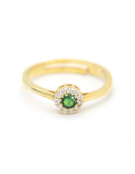 Δαχτυλίδι ασημένιο με πράσινο ζιργκόν επίχρυσο EROS