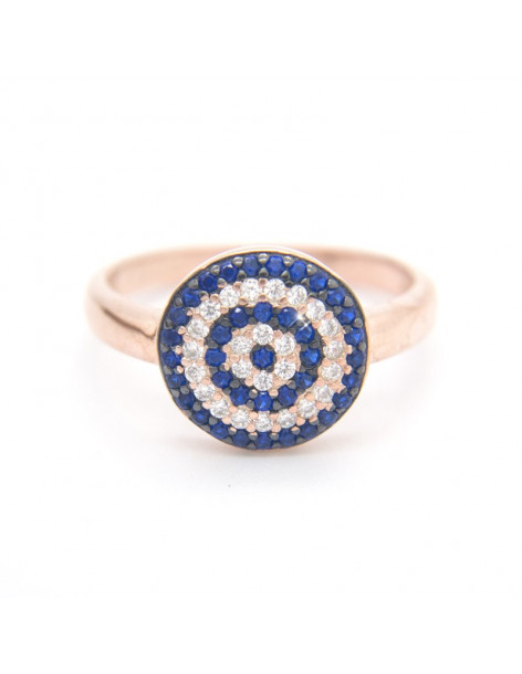 Nazar ring of silver with crystals rose gold ΜΑΤΙKA