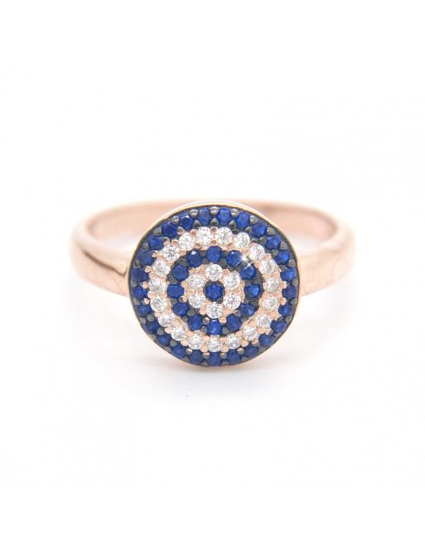 Δαχτυλίδι με ματάκι από ασήμι 925 ροζ χρυσό ΜΑΤΙKA