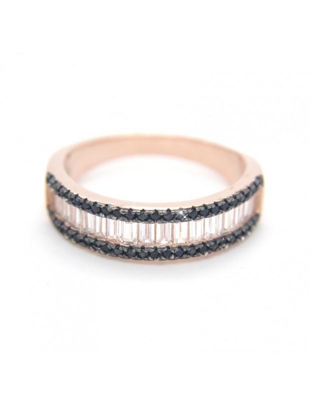Δαχτυλίδι από ασήμι 925 με ζιργκόν ροζ χρυσό OLI