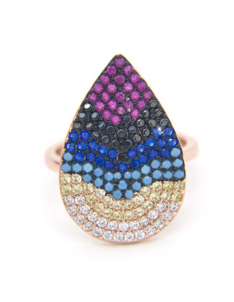 Ring aus rose gold Silber 925 mit Zirkonia Steinen TRÄNE R20140796