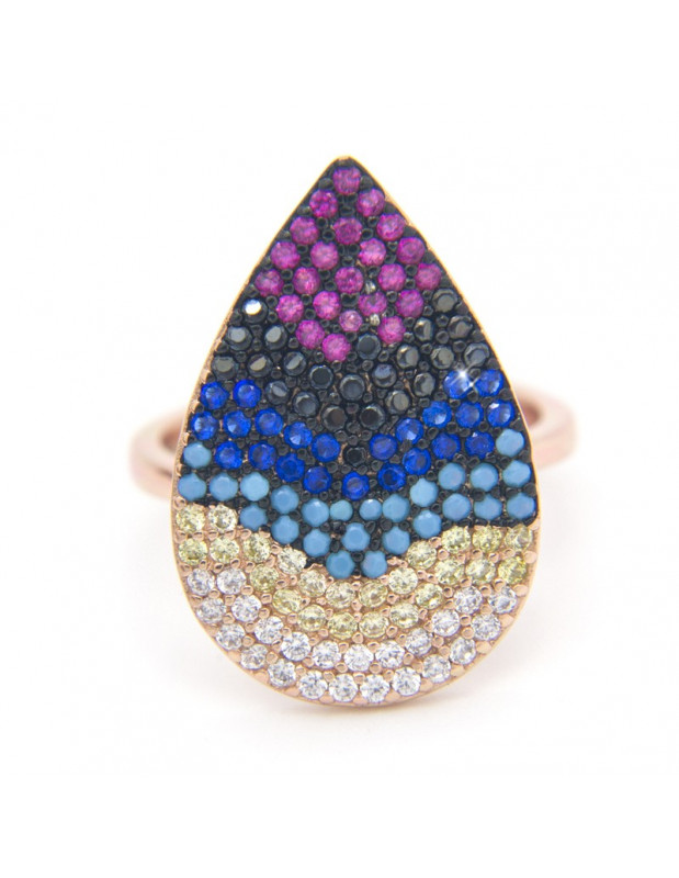 Ring made from rose gold sterling silver with zirconia stone TEER R20140796