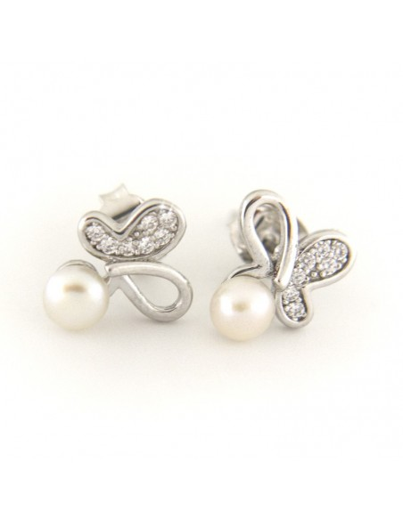 Σκουλαρίκια μαργαριτάρια από γνήσιο ασήμι LARRE