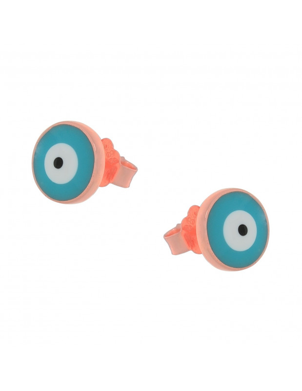 Silver Stud earrings rose gold EVIL EYE II
