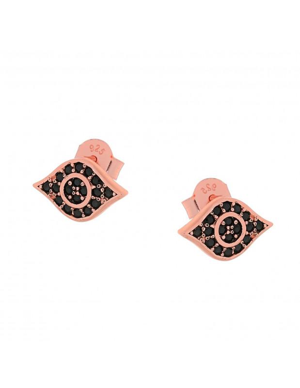 Ασημένια Σκουλαρίκια καρφωτά με ζιργκόν ροζ χρυσό ΜΑΤΑΚΙ