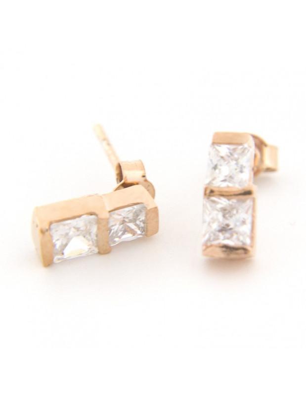 Silver Stud earrings rose gold TIRA