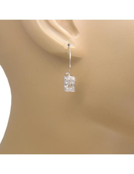 Silber Ohrringe mit großem Zirkonia Stein O20141033