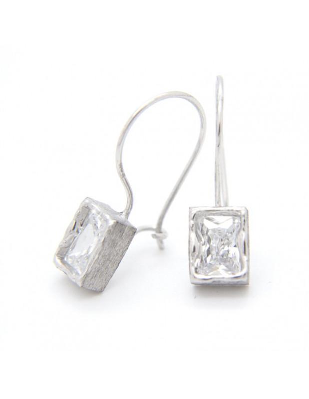 Silver earrings with big zirconia stone in rectangular shape O20141033