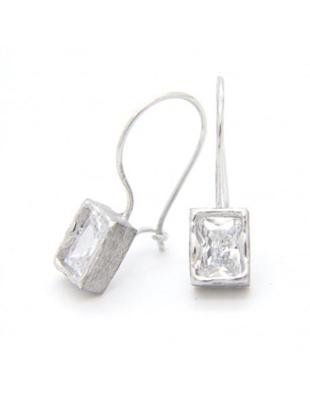 Σκουλαρίκια ασημένια σε ορθογωνικό σχήμα O20141033