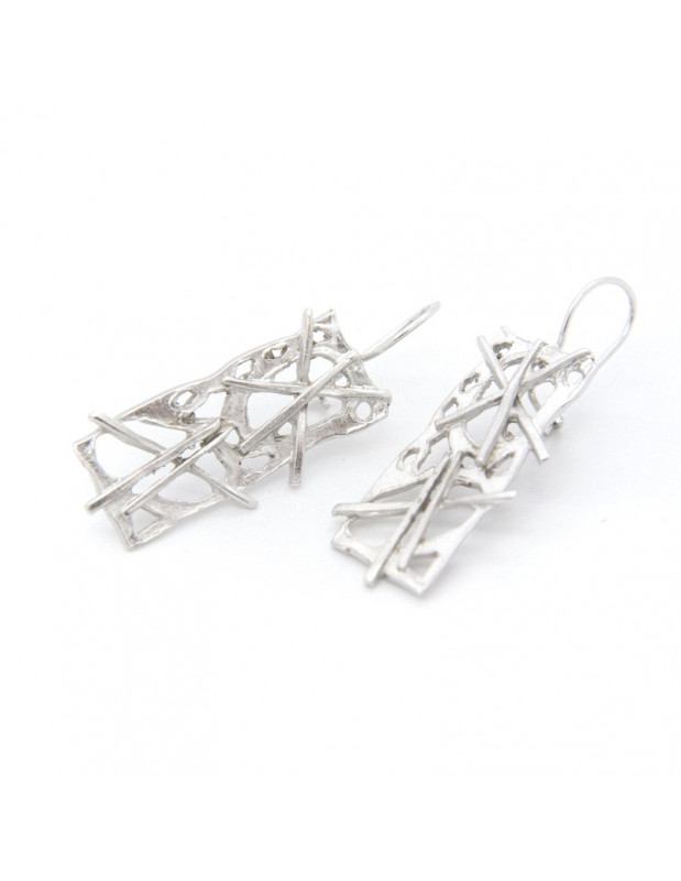 Handcrafted earrings from silver plated bronze ZERO O20141045