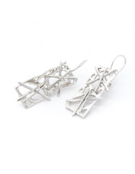 Handgefertigte Ohrringe aus versilberter Bronze ZERO O20141045