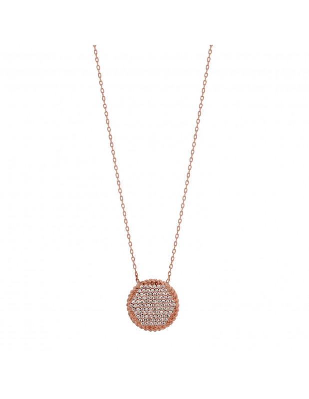 Silberkette mit Zirkonen rose gold VII