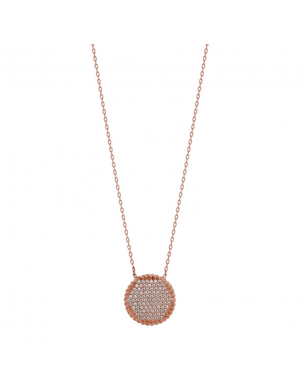 Silver Necklace with crystals rose gold VII
