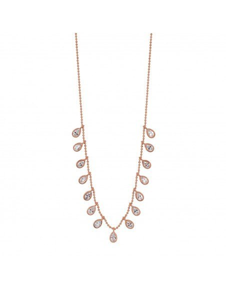 Silver Necklace with zirconia stones rose gold DIVOR