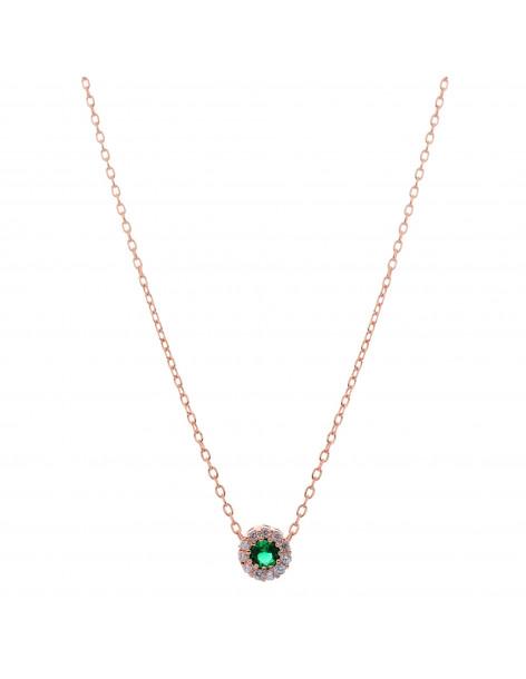 Κολιέ με πράσινο μενταγιόν ζιργκόν από ροζ επίχρυσο ασήμι H20140837