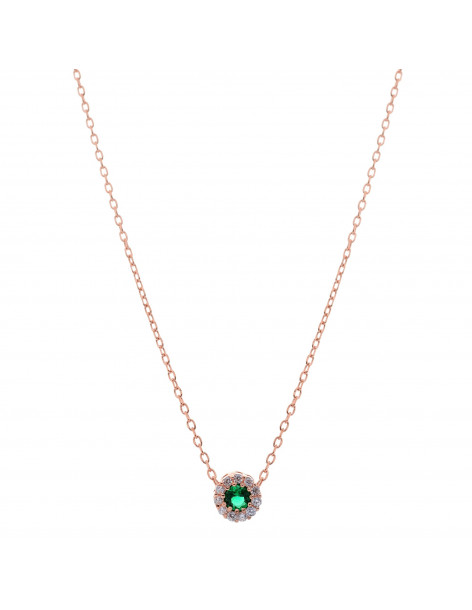 Necklace with green zirconia stone pendant from rose gold plated sterling silver H20140837