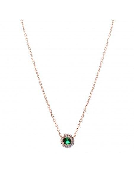 Silberkette mit grünem Zirkon rosegold GIRALI