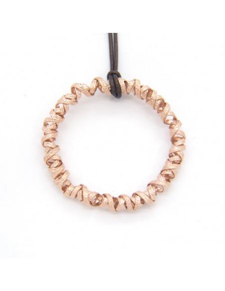 Leder Halskette mit Bronze Anhänger rosegold TRES