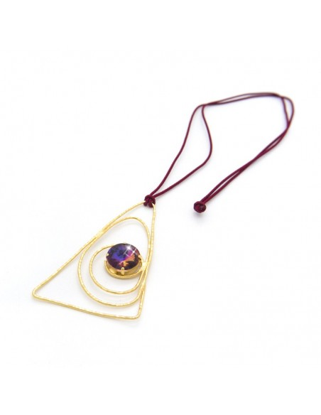 Necklace with dark red cord chain and big bronze pendant gold LASER 3