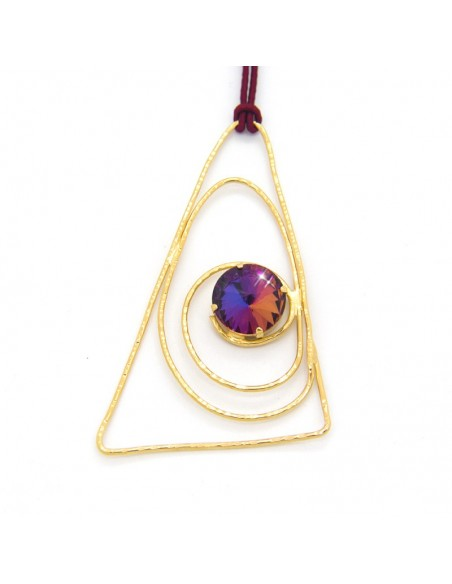 Necklace with dark red cord chain and big bronze pendant gold LASER
