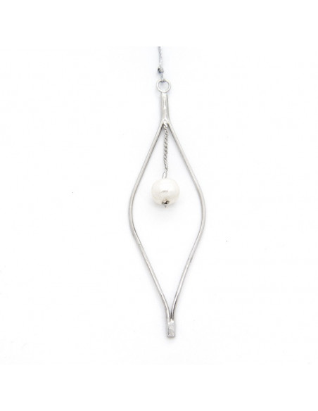 Long necklace with big pearl silver OZIR