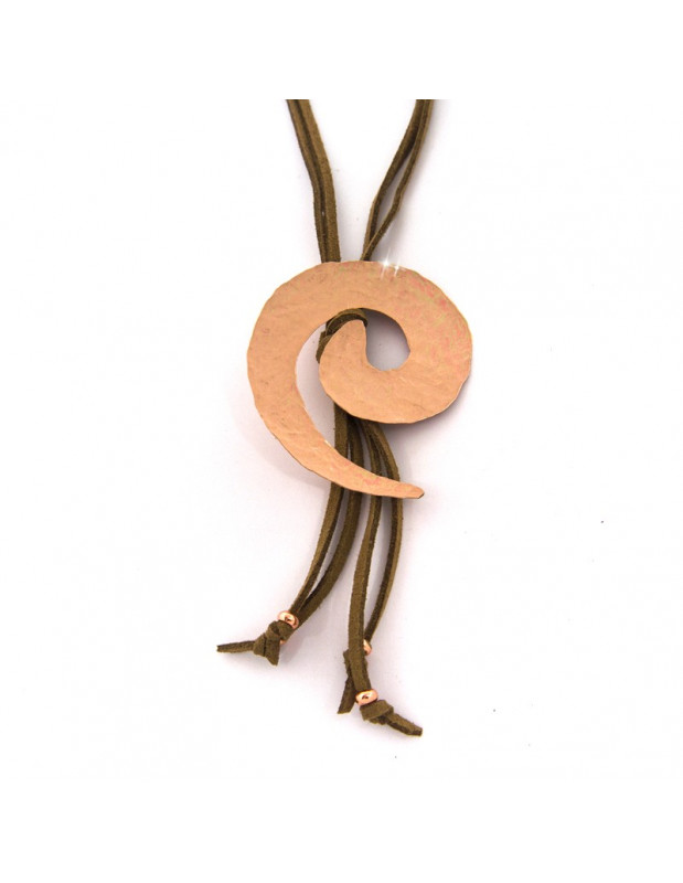 Long leather Necklace with bronze pendant rose gold VISTA