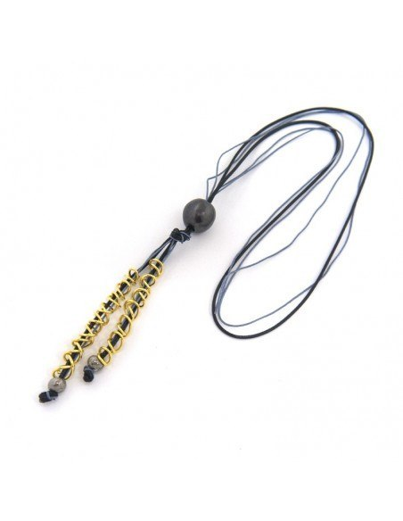Long necklace with pearl black leather cord SWIL 3