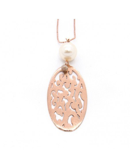 Long necklace with pearl rose gold RESD