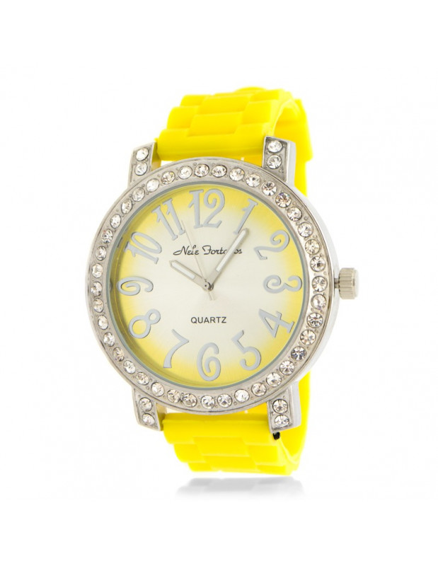 Women's watch with silicone strap yellow WOW II