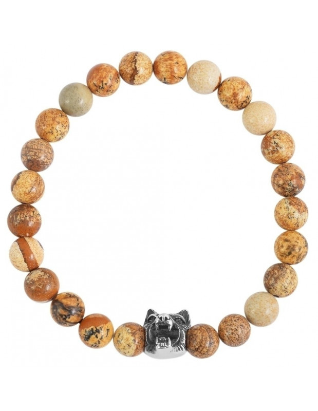 Bracelet of brown semiprecious stones WOLF