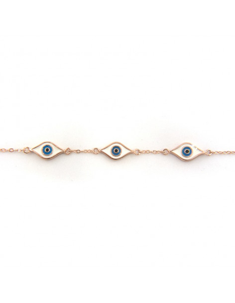 Nazar bracelet of rose gold plated silver 925 WREN