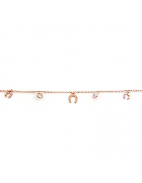 Sterling silver charm bracelet in rose gold VIVI