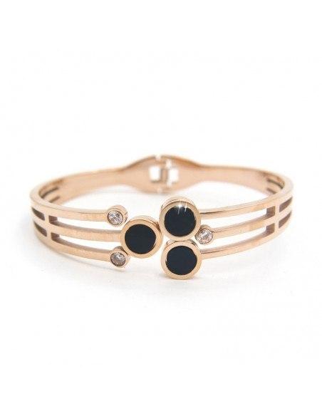Bangle bracelet with rhinestones rose gold ELLE