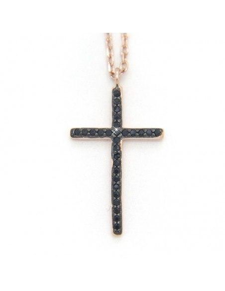 Halskette aus Silber mit Kreuz rose gold AGAPE