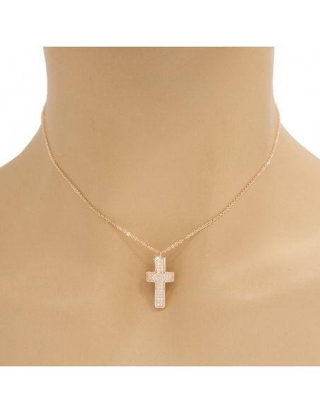 Cross Necklace of stainless steel with crystals rose gold OLIVIA 2