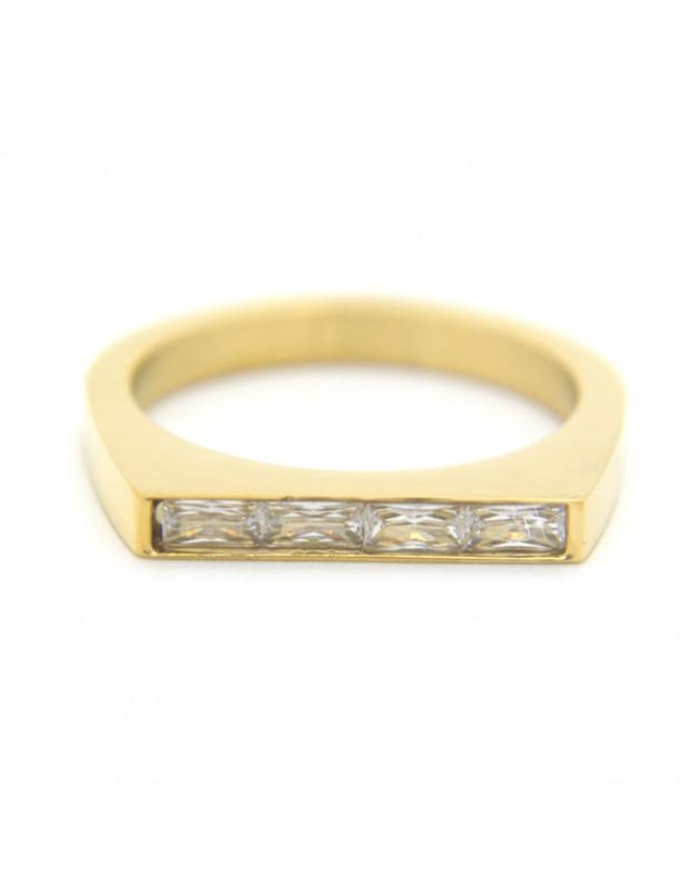 Ring aus vergoldetem Edelstahl mit Zirkonia Steinen SETI R20140841