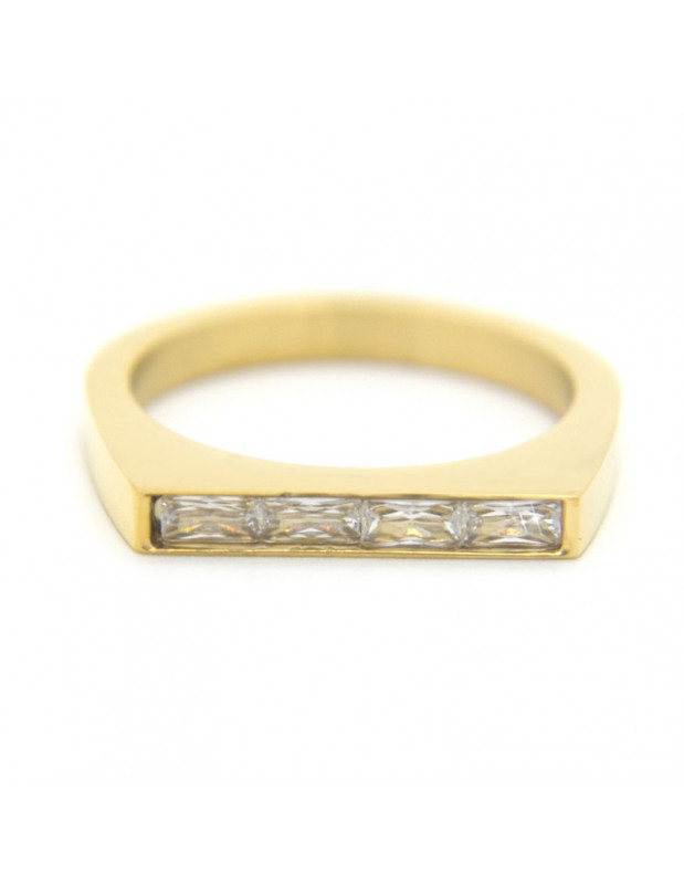 Ring from gold plated stainless steel and ziconia stones SETI R20140841