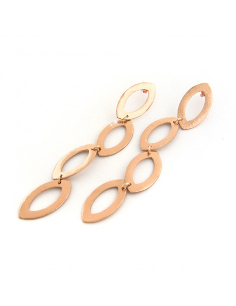 Lange Ohrringe aus rosévergoldeter Bronze MODU