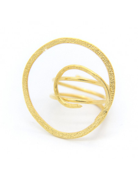 Ring in ancient greek style from hammered plated bronze FRASI