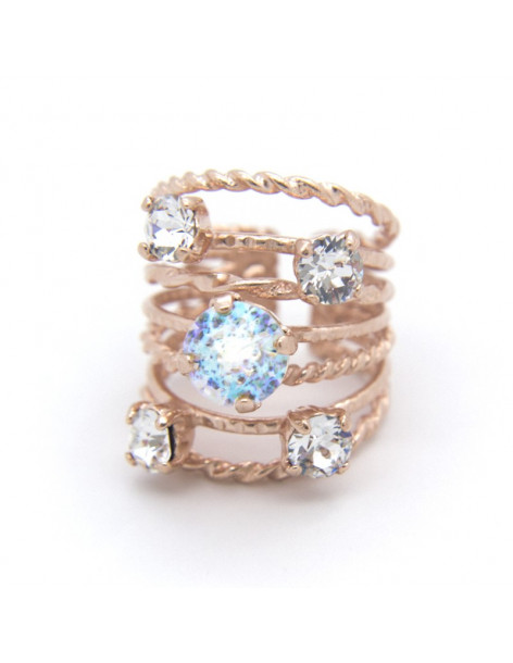 Handmade ring from rose gold plated bronze with white rhinestones OROR
