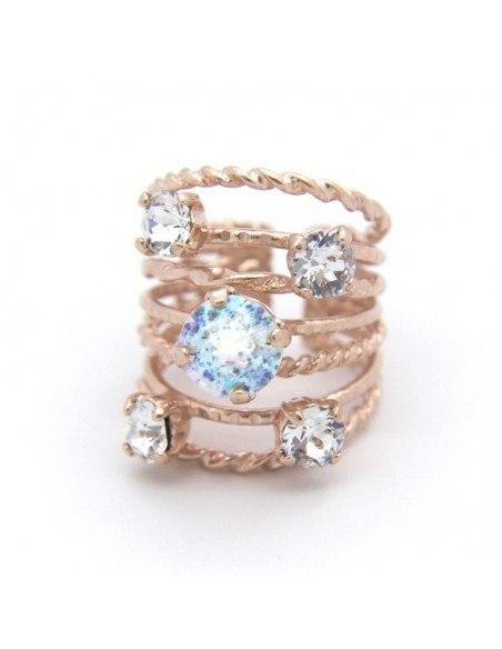 Ring aus Bronze mit Zirkon handgefertigt rosegold OROR