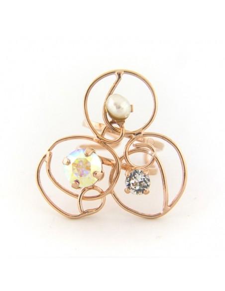 Statement Ring mit Strassteinen und Perle rose gold VITRIS