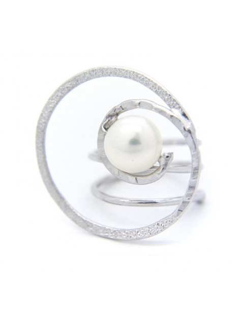 Handmade ring from silver plated bronze with freshwater Pearl SPRE