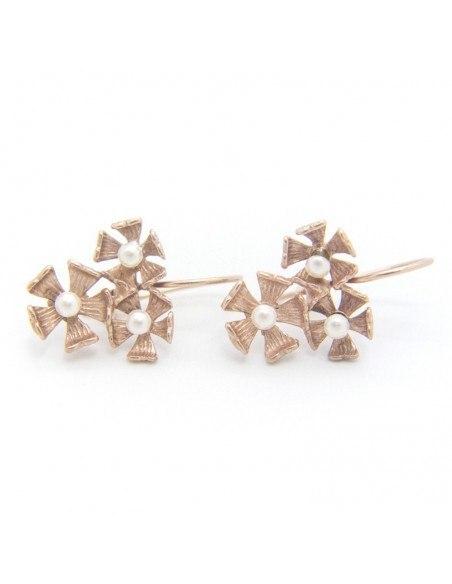 Perlen Ohrringe aus Bronze rosegold MARS