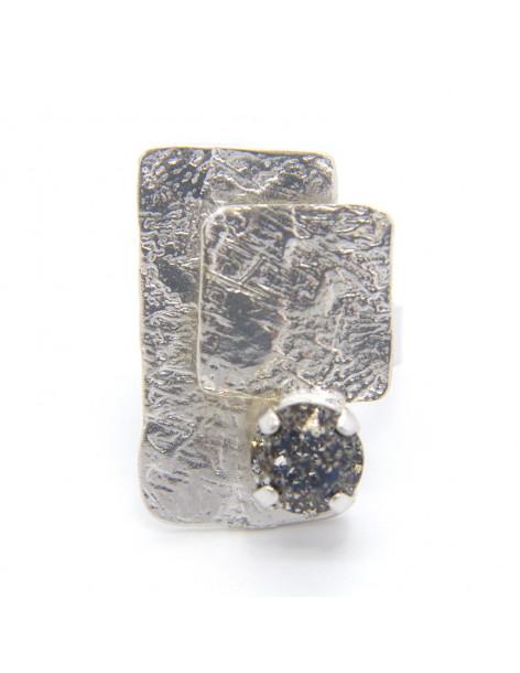 Χειροποίητο δαχτυλίδι από επάργυρο μπρούτζο με ζιργκόν Swarovski CHIL
