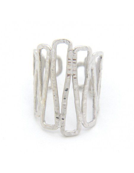 Ring in ancient greek style from hammered silver plated bronze TESSA